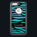 """Teal Blue Faux Glitter Zebra Personalized OtterBox iPhone 6/6s Case<br><div class=""""desc"""">A trendy teal blue and black zebra pattern with a black stripe. Preppy and cute. Easily personalize with your name! Designs are flat printed illustrations/graphics - NOT ACTUAL GLITTER</div>"""