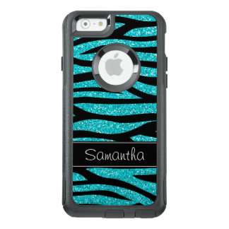 Teal Blue Faux Glitter Zebra Personalized OtterBox iPhone 6/6s Case