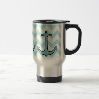Teal Blue Floral Anchor on Chevron Stainless Steel Travel Mug
