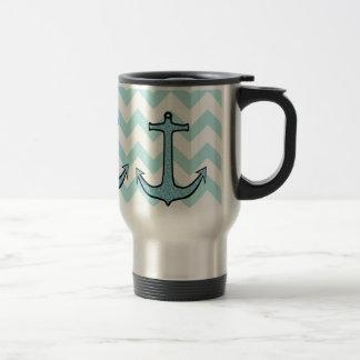 Teal Blue Floral Anchor on Chevron Mugs