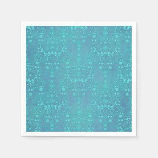 Teal Blue Floral Damask Design Paper Napkins