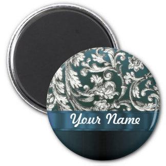 Teal blue floral damask pattern 2 inch round magnet