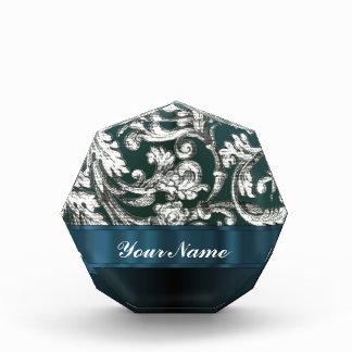 Teal blue floral damask pattern acrylic award