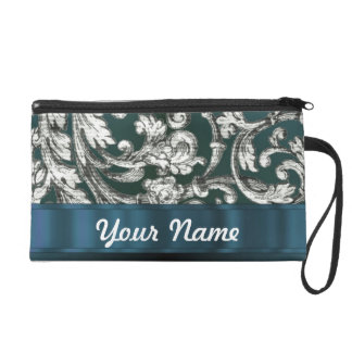 Teal blue floral damask pattern wristlet purse