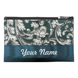 Teal blue floral damask pattern travel accessories bag