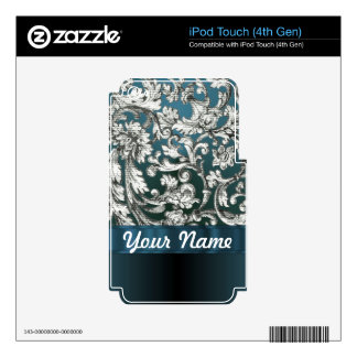 Teal blue floral damask pattern decals for iPod touch 4G