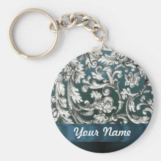 Teal blue floral damask pattern keychain