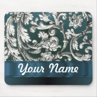 Teal blue floral damask pattern mousepad