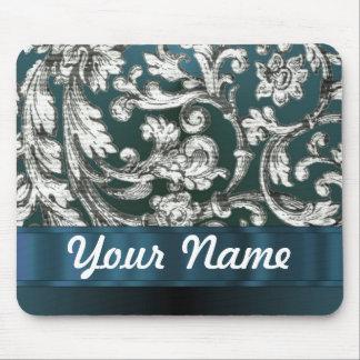 Teal blue floral damask pattern mouse pad