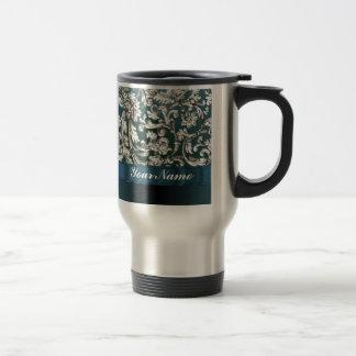 Teal blue floral damask pattern 15 oz stainless steel travel mug