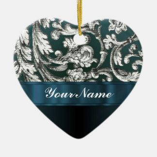 Teal blue floral damask pattern christmas ornament