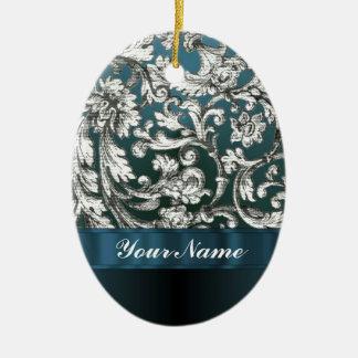 Teal blue floral damask pattern ornament
