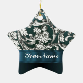 Teal blue floral damask pattern christmas ornaments