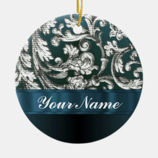 Teal blue floral damask pattern christmas tree ornaments