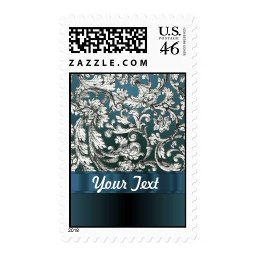 Teal blue floral damask pattern postage stamp