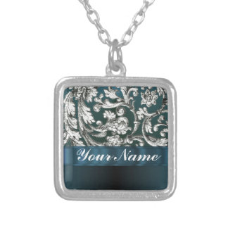 Teal blue floral damask pattern silver plated necklace