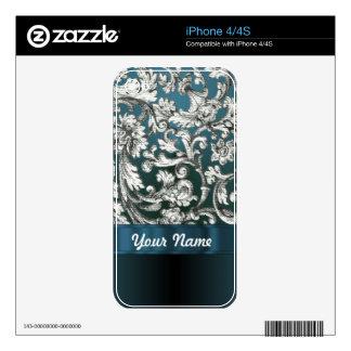 Teal blue floral damask pattern skins for the iPhone 4