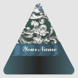 Teal blue floral damask pattern triangle stickers