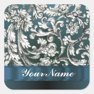 Teal blue floral damask pattern sticker