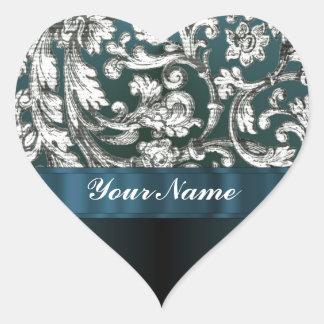 Teal blue floral damask pattern stickers