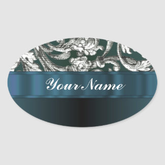 Teal blue floral damask pattern oval stickers
