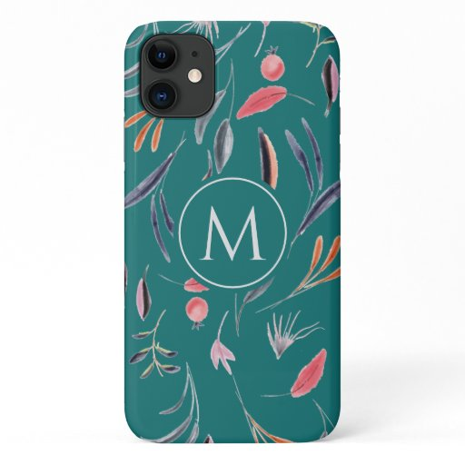 Teal Blue Floral MONOGRAM Custom Personalized iPhone 11 Case