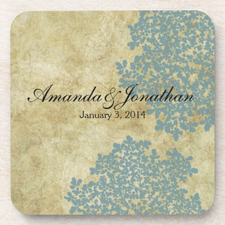 Teal Blue Floral Vintage Beverage Coaster