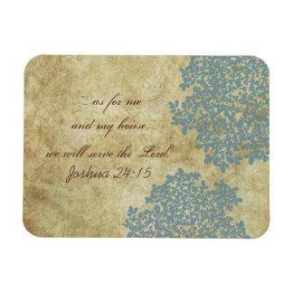 Teal Blue Floral Vintage Rectangular Photo Magnet