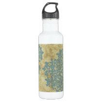 Teal Blue Floral Vintage Stainless Steel Water Bottle