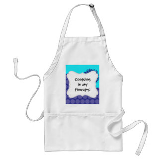 Teal Blue Flower and Purple Polka Dots Pattern Adult Apron