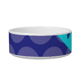 Teal Blue Flower and Purple Polka Dots Pattern Bowl
