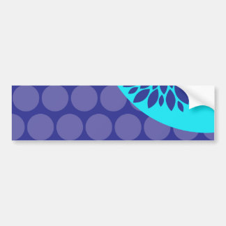 Teal Blue Flower and Purple Polka Dots Pattern Bumper Sticker
