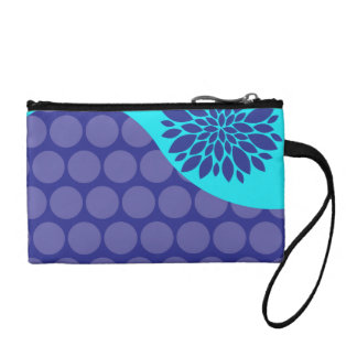 Teal Blue Flower and Purple Polka Dots Pattern Coin Purse