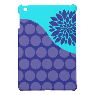 Teal Blue Flower and Purple Polka Dots Pattern iPad Mini Case