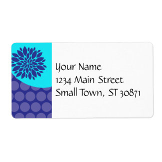 Teal Blue Flower and Purple Polka Dots Pattern Custom Shipping Label
