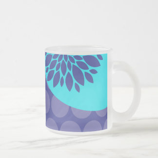Teal Blue Flower and Purple Polka Dots Pattern 10 Oz Frosted Glass Coffee Mug