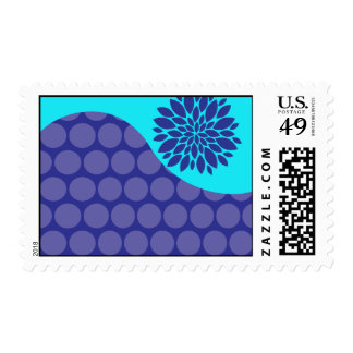 Teal Blue Flower and Purple Polka Dots Pattern Postage