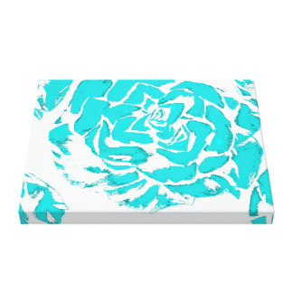 Teal Blue Flower Canvas Print 20x16