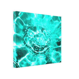 Teal Blue Flower Modern Water Splash Ripple Canvas Print