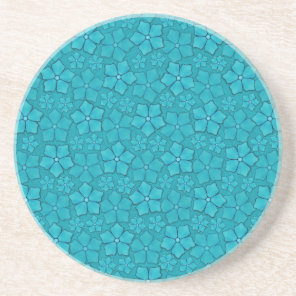 Teal blue flowers drink coaster