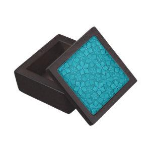 Teal blue flowers keepsake box