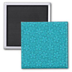 Teal blue flowers magnet