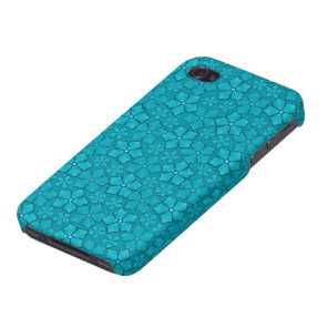 Teal blue flowers pattern iPhone 4 case