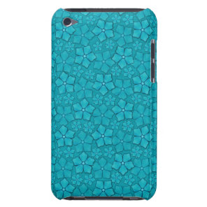 Teal blue flowers repeating pattern iPod touch cover