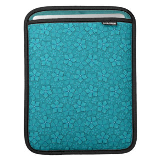 Teal blue flowers sleeve for iPads