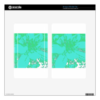 Teal/Blue.Geen Floral Dahlia Flower Pattern Kindle Fire Decals