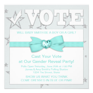 Teal Blue Gender Reveal Party Personalized Invitations