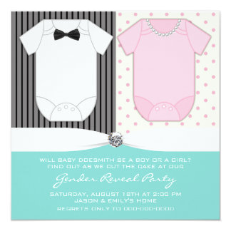 Teal Blue Gender Reveal Party Invitations