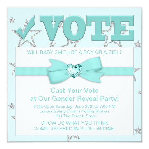 """Teal Blue Gender Reveal Party Invitations 5.25"""" Square Invitation Card"""