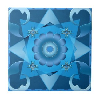 Teal Blue Geometric Abstract Design Bathroom Tile